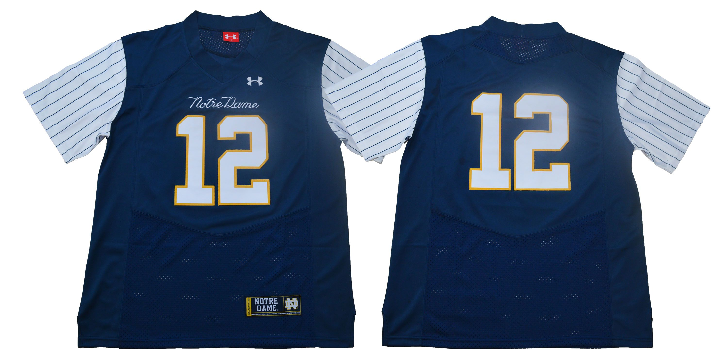 Men Norte Dame Fighting Irish 12 No name Stripe Blue Stitched NCAA Jersey