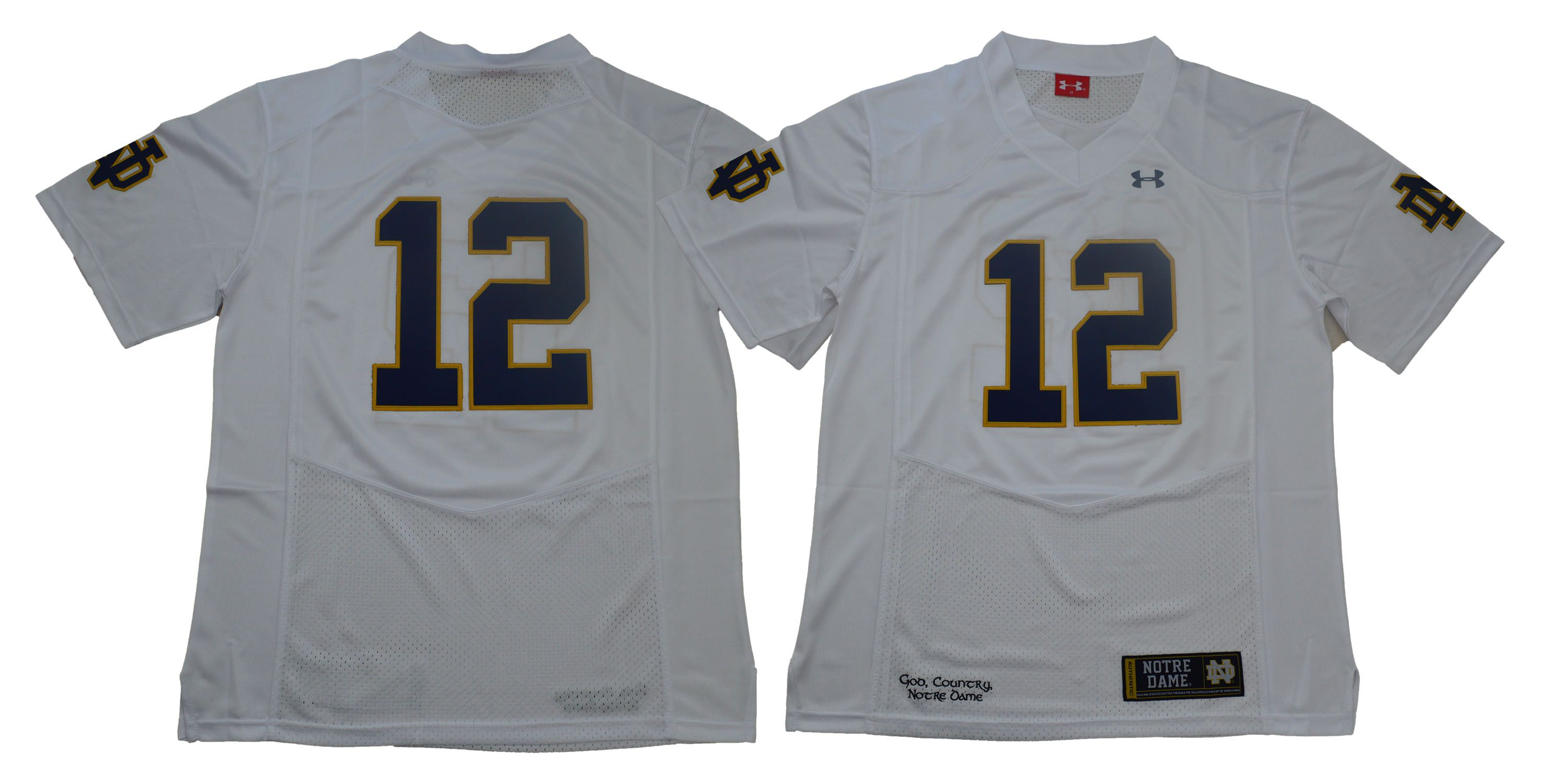 Men Norte Dame Fighting Irish 12 No name White Stitched NCAA Jersey