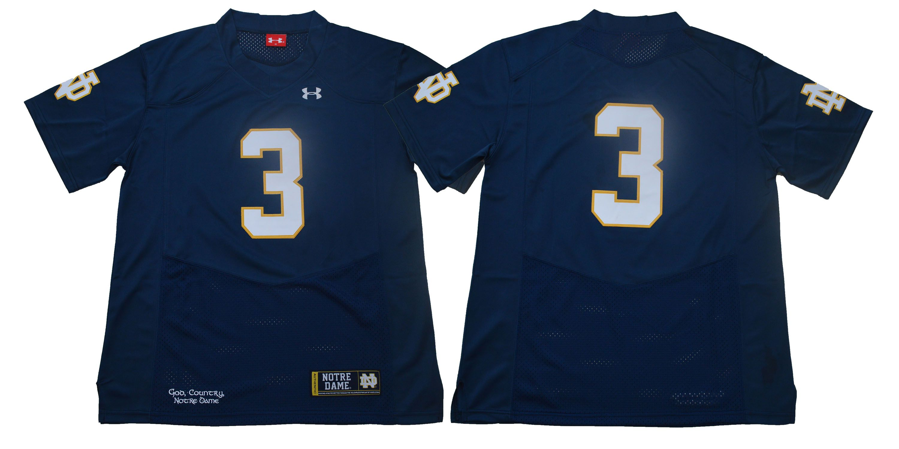 Men Norte Dame Fighting Irish 3 No name Dark Blue Stitched NCAA Jersey