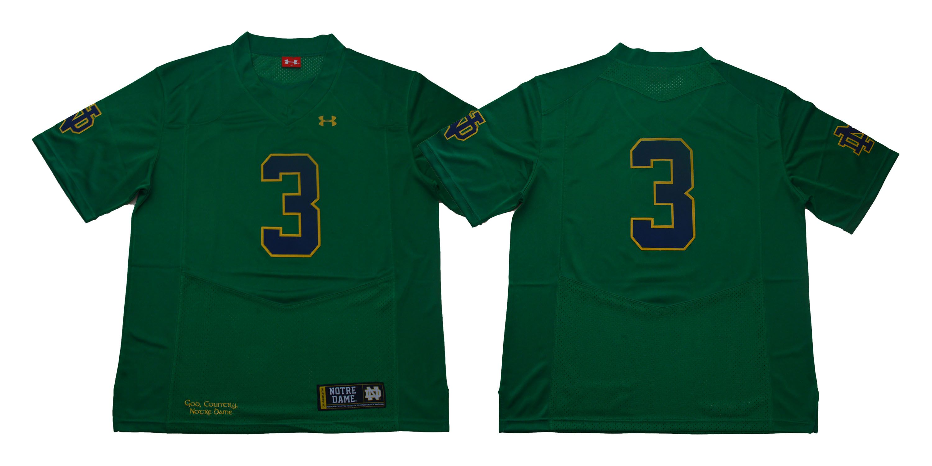 Men Norte Dame Fighting Irish 3 No name Green Stitched NCAA Jersey