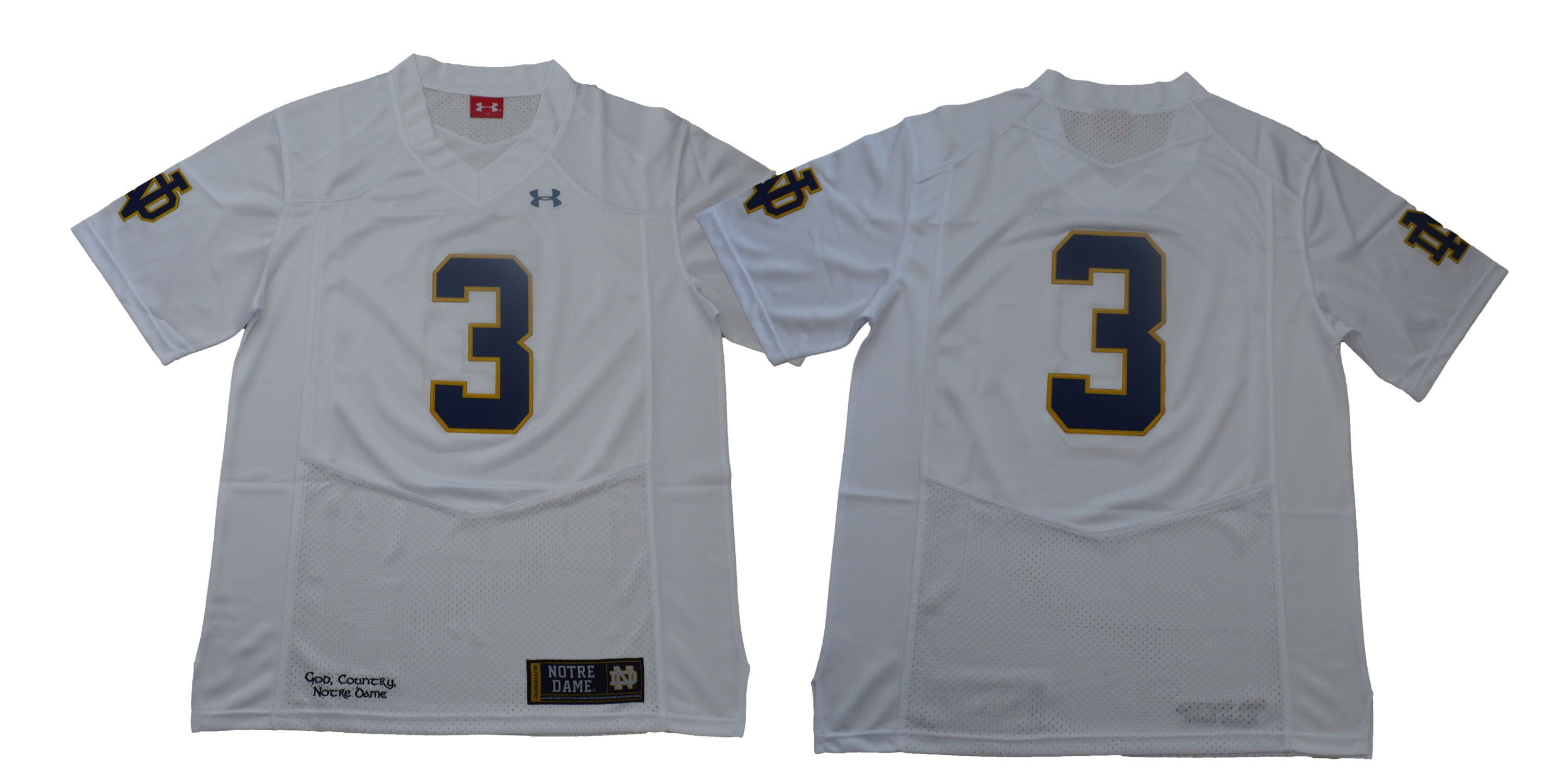 Men Norte Dame Fighting Irish 3 No name White Stitched NCAA Jersey