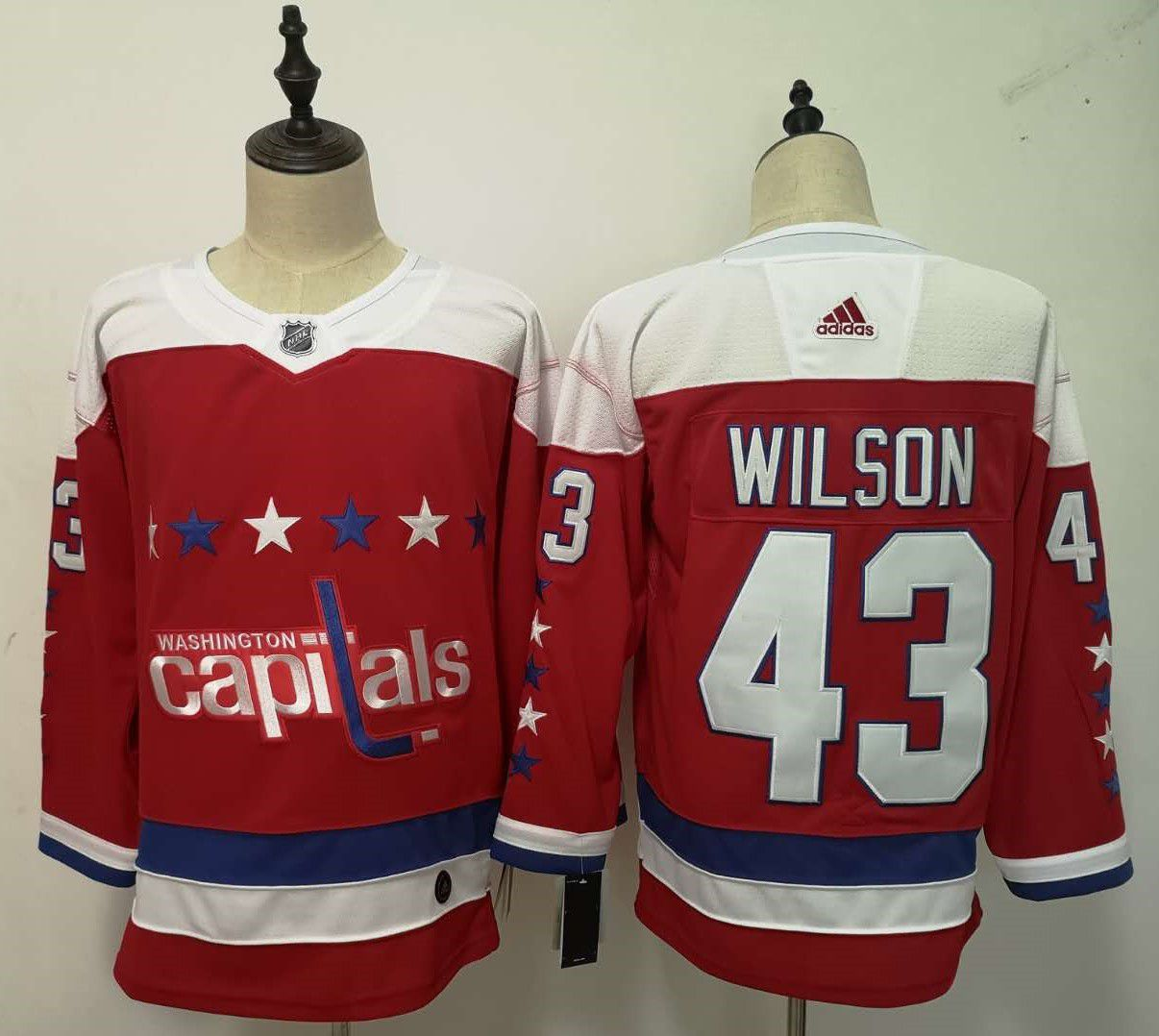 Men Washington Capitals 43 Wilson Red Adidas Alternate Authentic Stitched NHL Jersey