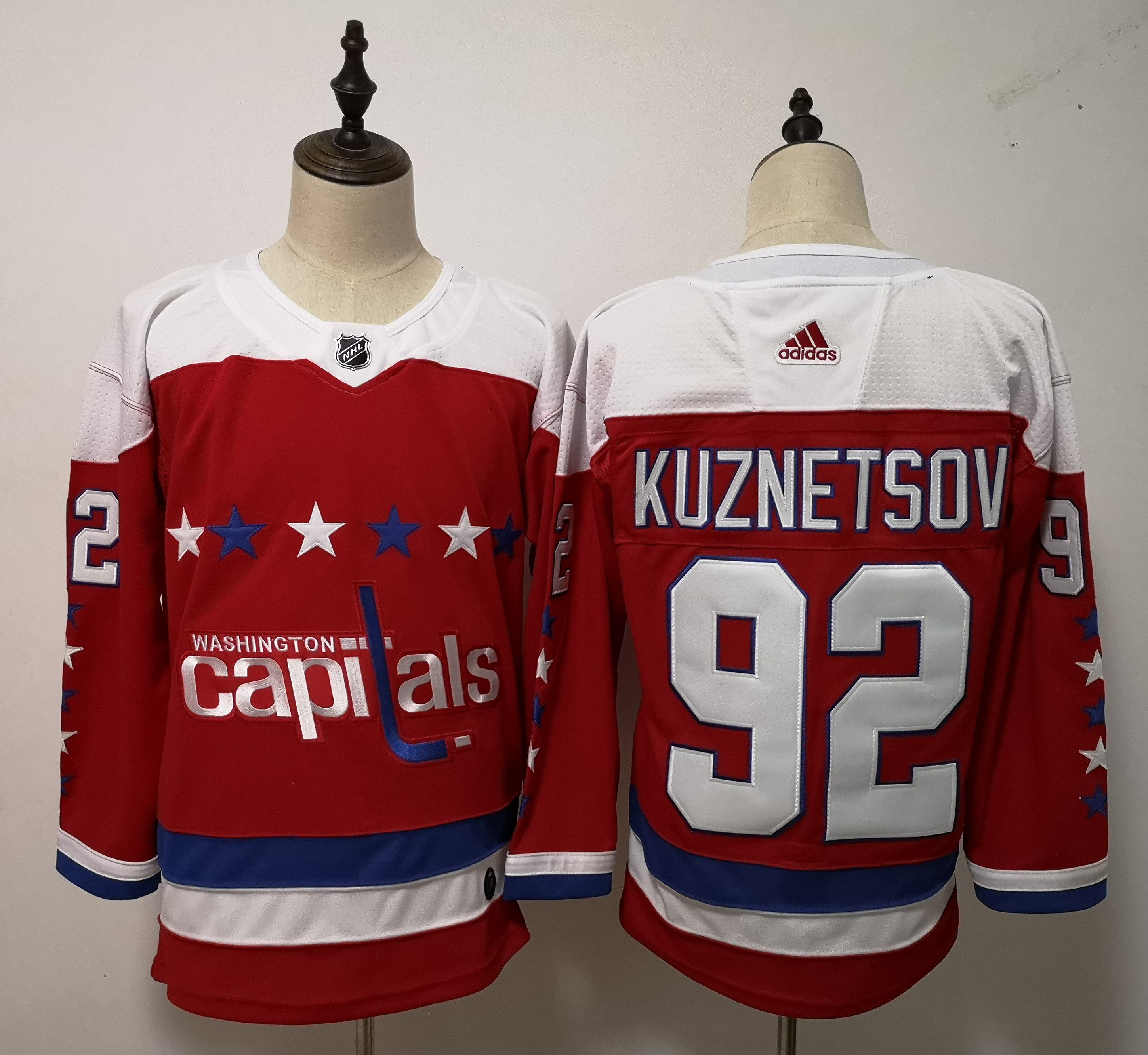 Men Washington Capitals 92 Kuznetsov Red Adidas Alternate Authentic Stitched NHL Jersey