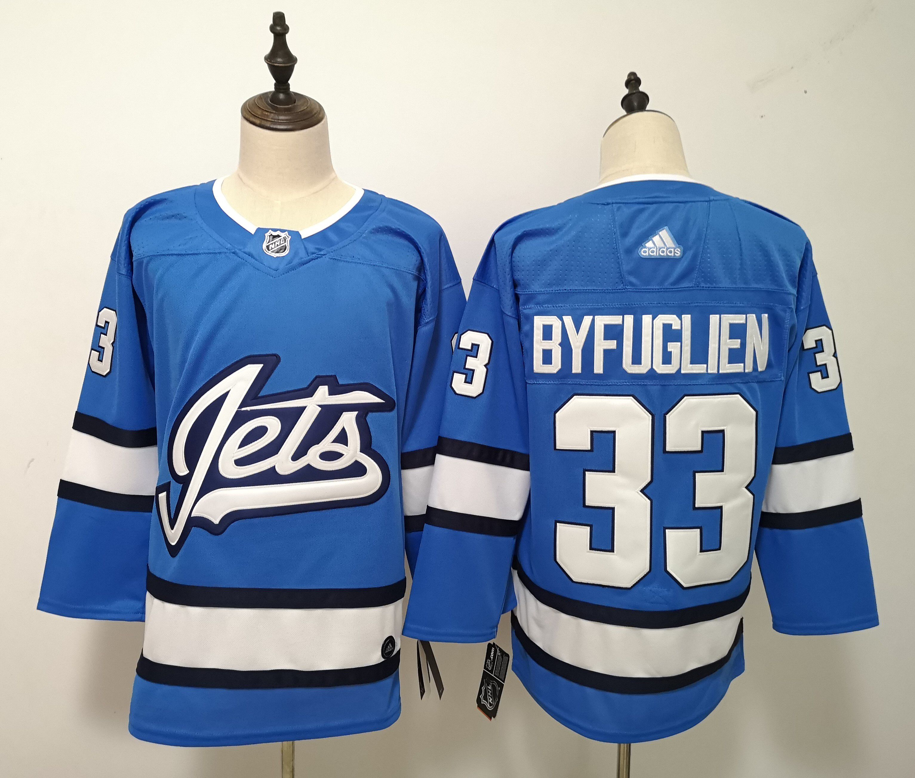 Men Winnipeg Jets 33 Byfuglien Blue Adidas Alternate Authentic Stitched NHL Jersey