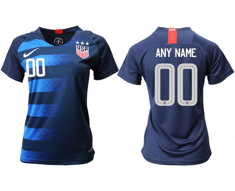Women 2018-2019 National Team America away aaa customized blue Soccer Jerseys