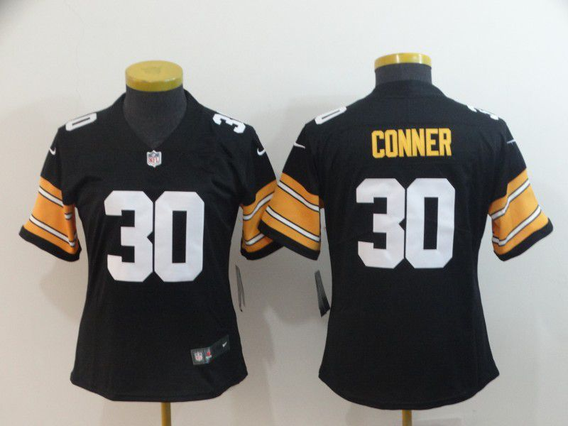 Women Pittsburgh Steelers 30 Conner Black Nike Vapor Untouchable Limited Player NFL Jerseys
