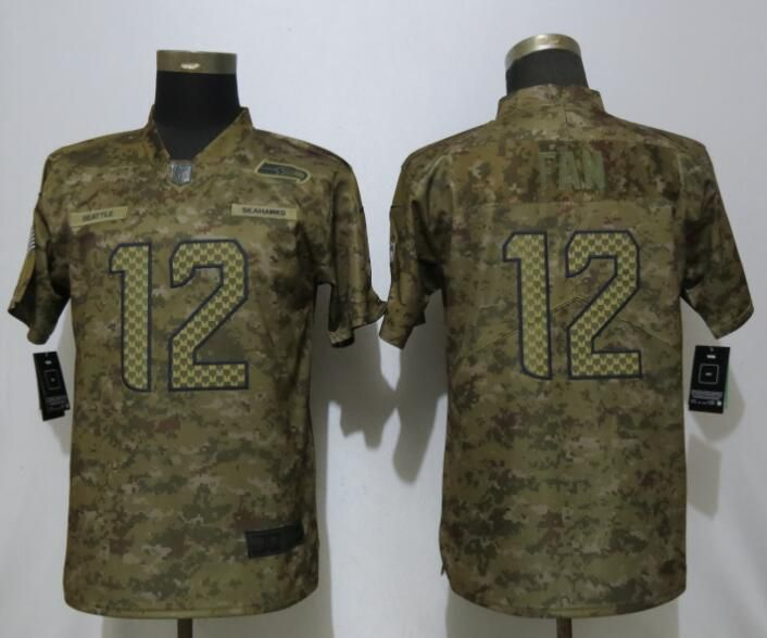 Women Seattle Seahawks 12 Fan Nike Camo Salute to Service Limited NFL Jerseys