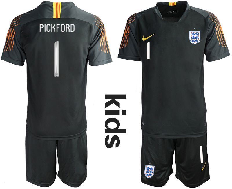 Youth 2018 World Cup England black goalkeeper 1 Soccer Jerseys