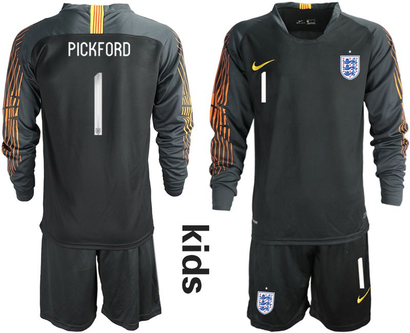 Youth 2018 World Cup England black long sleeve goalkeeper 1 Soccer Jerseys