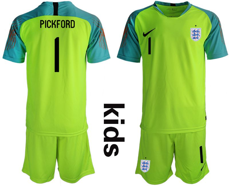 Youth 2018 World Cup England fluorescent green goalkeeper 1 Soccer Jerseys
