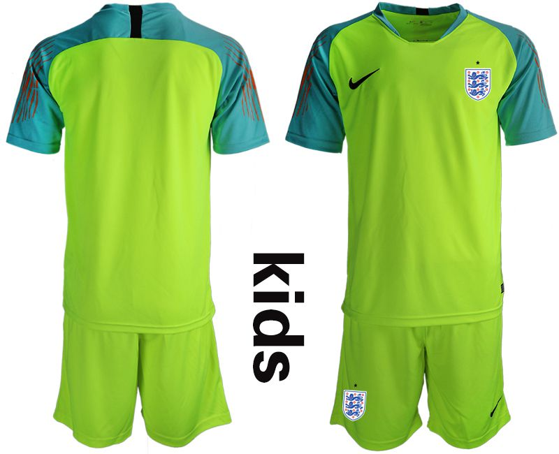 Youth 2018 World Cup England fluorescent green goalkeeper Soccer Jerseys