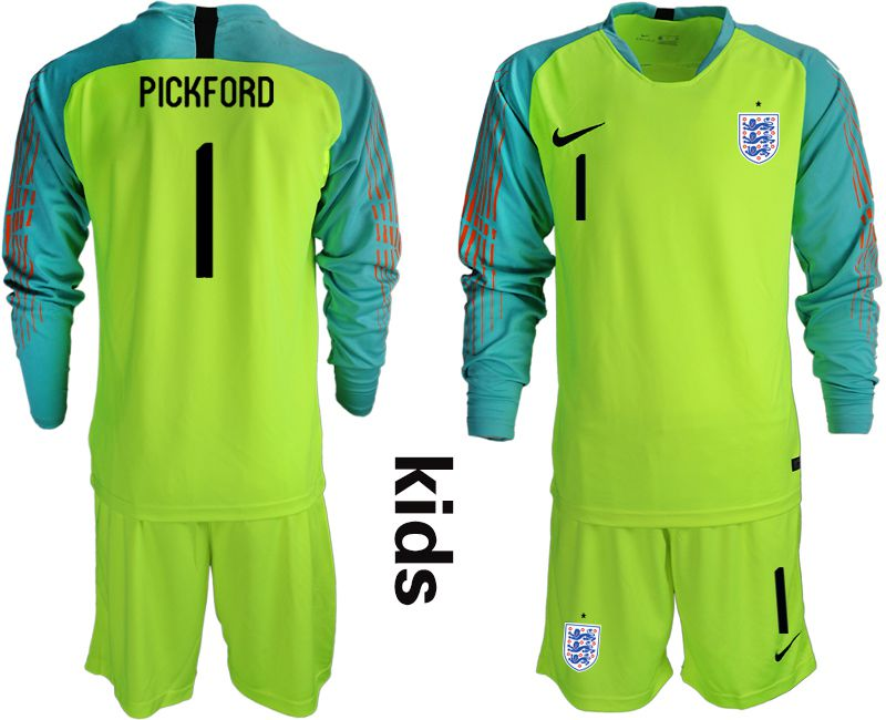 Youth 2018 World Cup England fluorescent green long sleeve goalkeeper 1 Soccer Jerseys
