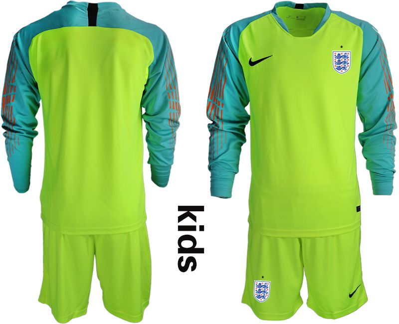 Youth 2018 World Cup England fluorescent green long sleeve goalkeeper Soccer Jerseys