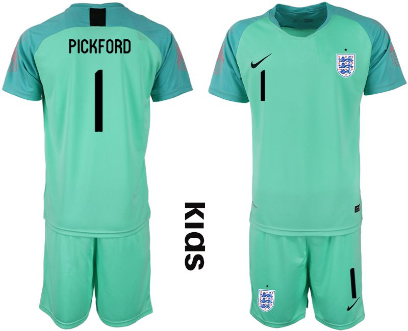 Youth 2018 World Cup England green goalkeeper 1 Soccer Jerseys