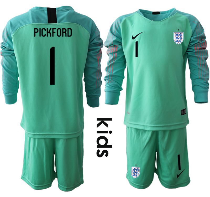 Youth 2018 World Cup England green goalkeeper long sleeve 1 Soccer Jerseys