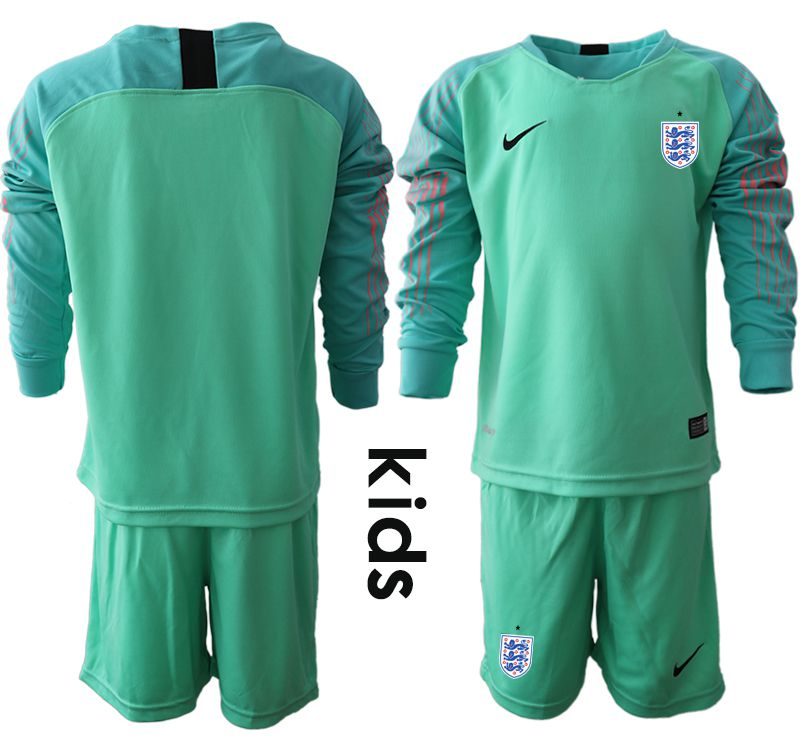 Youth 2018 World Cup England green goalkeeper long sleeve Soccer Jerseys