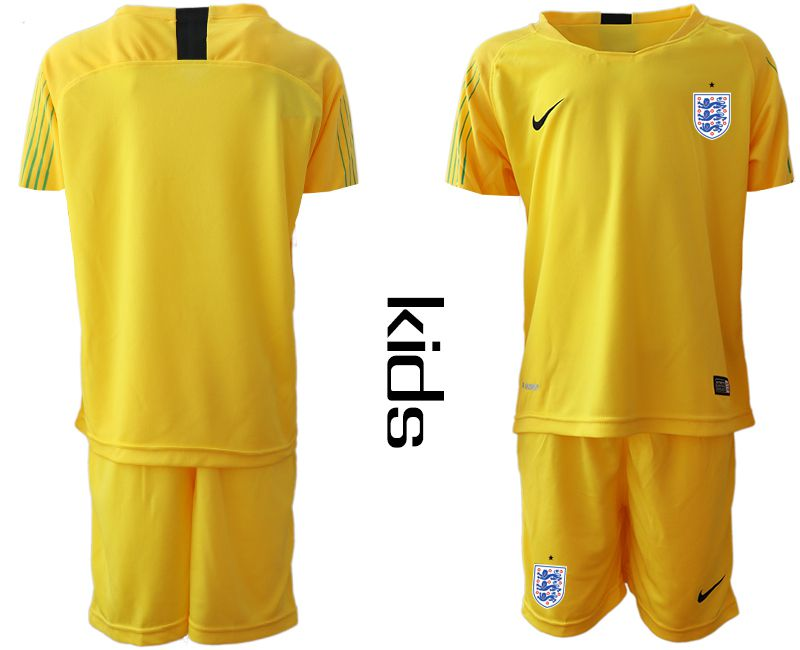 Youth 2018 World Cup England yellow goalkeeper Soccer Jerseys