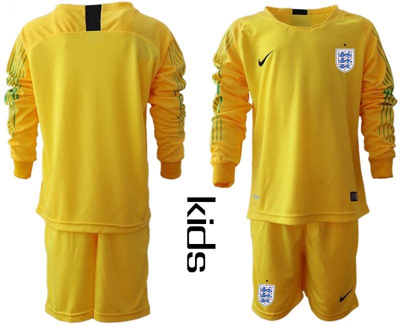 Youth 2018 World Cup England yellow goalkeeper long sleeve Soccer Jerseys