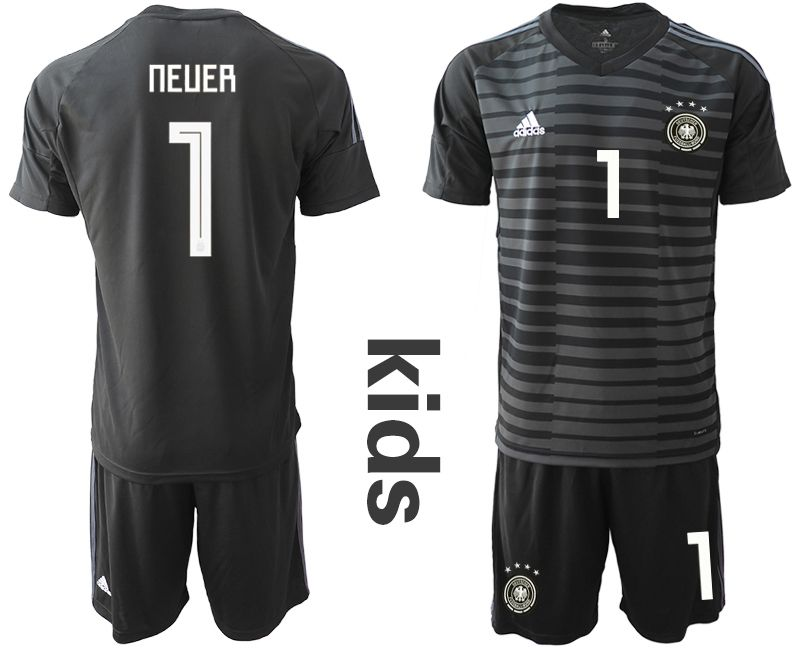 Youth 2018 World Cup Germany black goalkeeper 1 soccer jersey