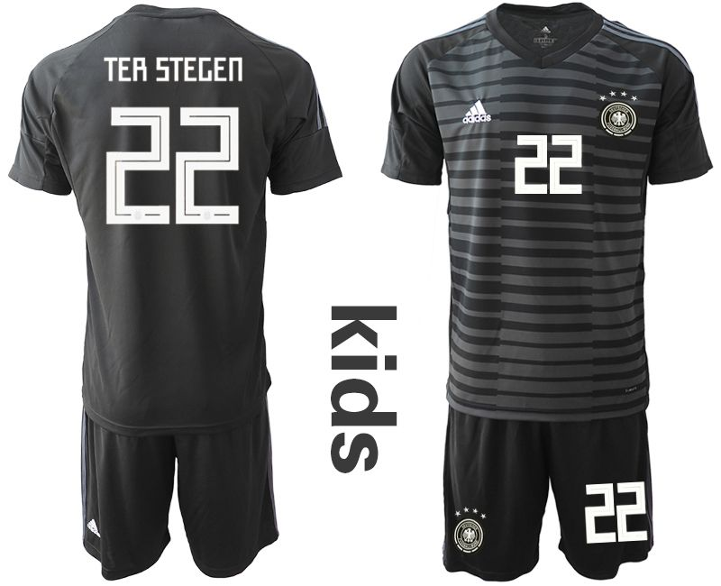 Youth 2018 World Cup Germany black goalkeeper 22 soccer jersey