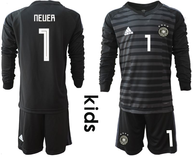 Youth 2018 World Cup Germany black long sleeve goalkeeper 1 soccer jersey