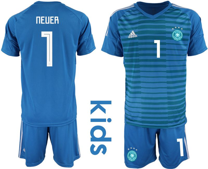 Youth 2018 World Cup Germany blue goalkeeper 1 soccer jersey