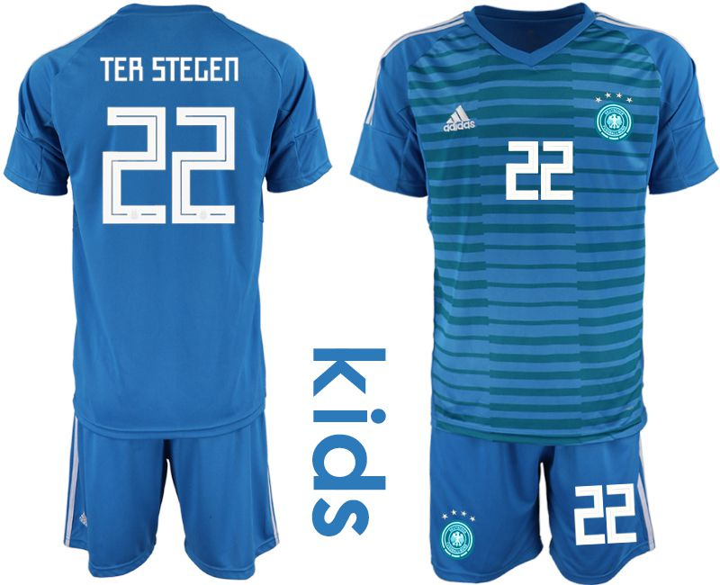 Youth 2018 World Cup Germany blue goalkeeper 22 soccer jersey