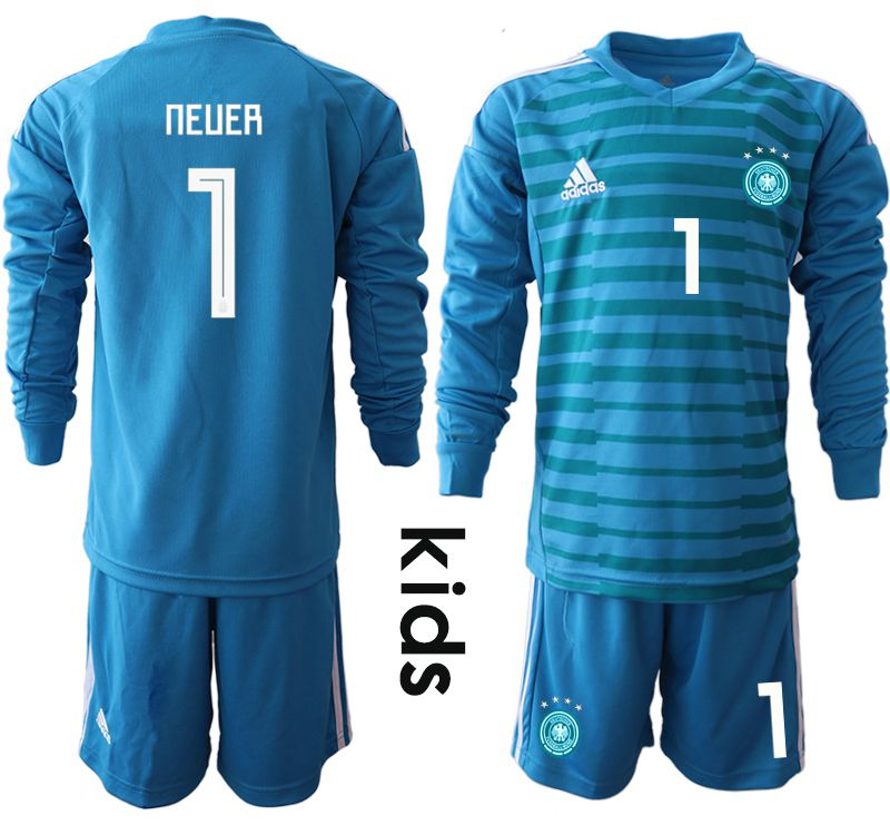 Youth 2018 World Cup Germany blue goalkeeper Long sleeve 1 soccer jersey