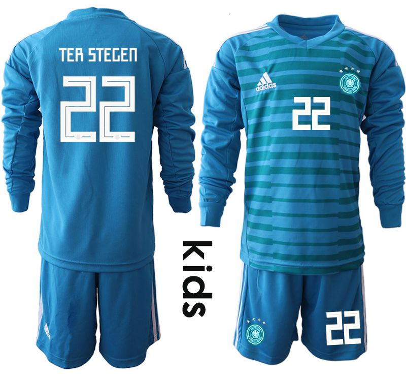 Youth 2018 World Cup Germany blue goalkeeper Long sleeve 22 soccer jersey