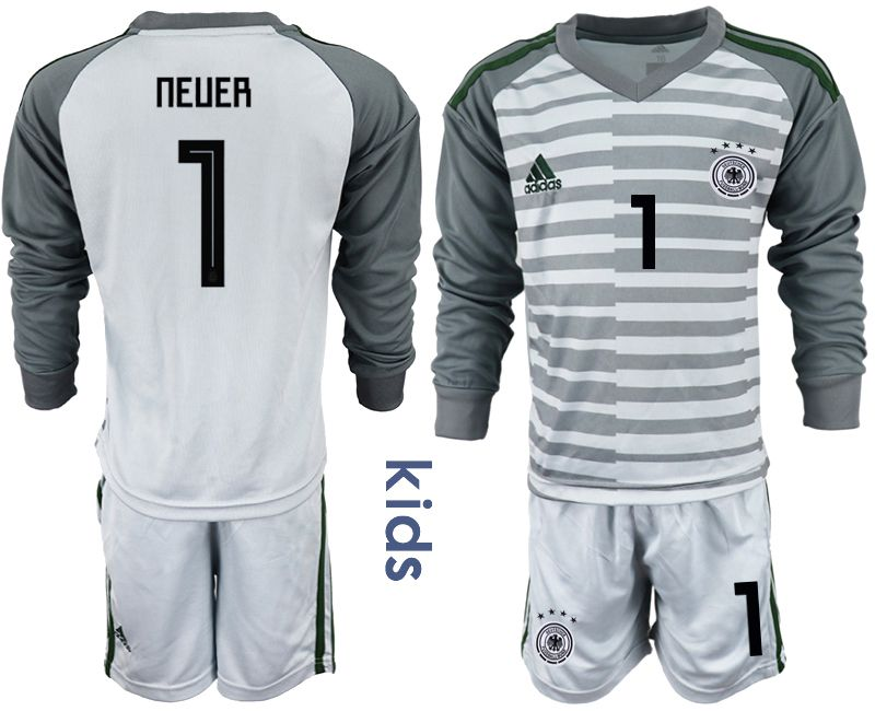Youth 2018 World Cup Germany gray long sleeve goalkeeper 1 soccer jersey
