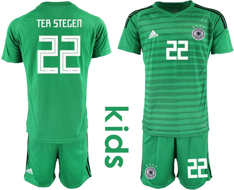 Youth 2018 World Cup Germany green goalkeeper 22 soccer jersey