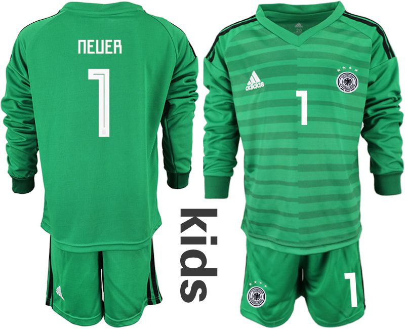 Youth 2018 World Cup Germany green long sleeve goalkeeper 1 soccer jersey