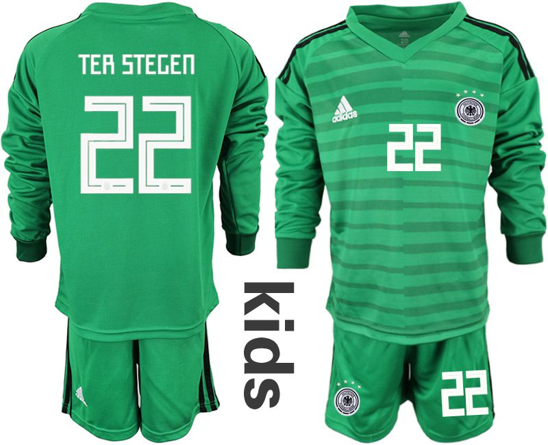 Youth 2018 World Cup Germany green long sleeve goalkeeper 22 soccer jersey