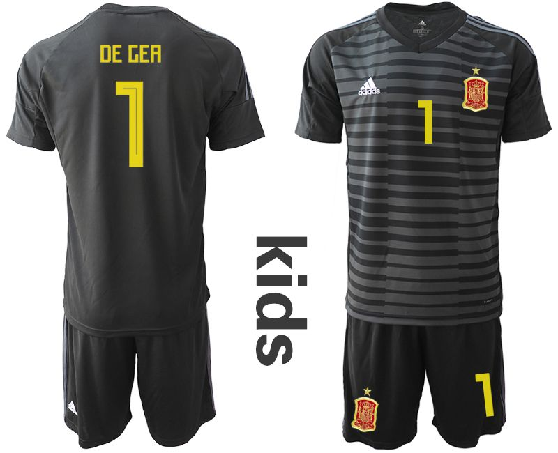 Youth 2018 World Cup Spain black goalkeeper 1 Soccer Jerseys