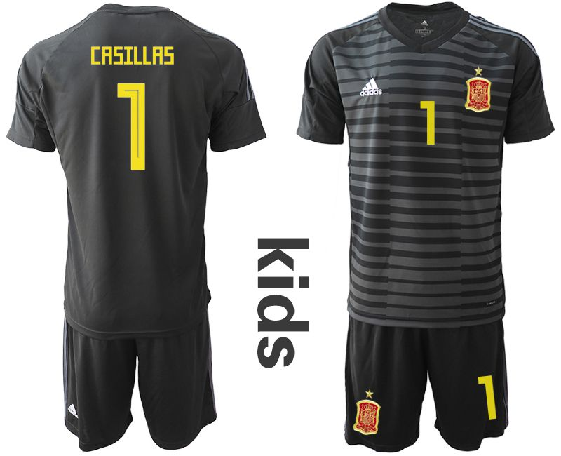 Youth 2018 World Cup Spain black goalkeeper 1 Soccer Jerseys1