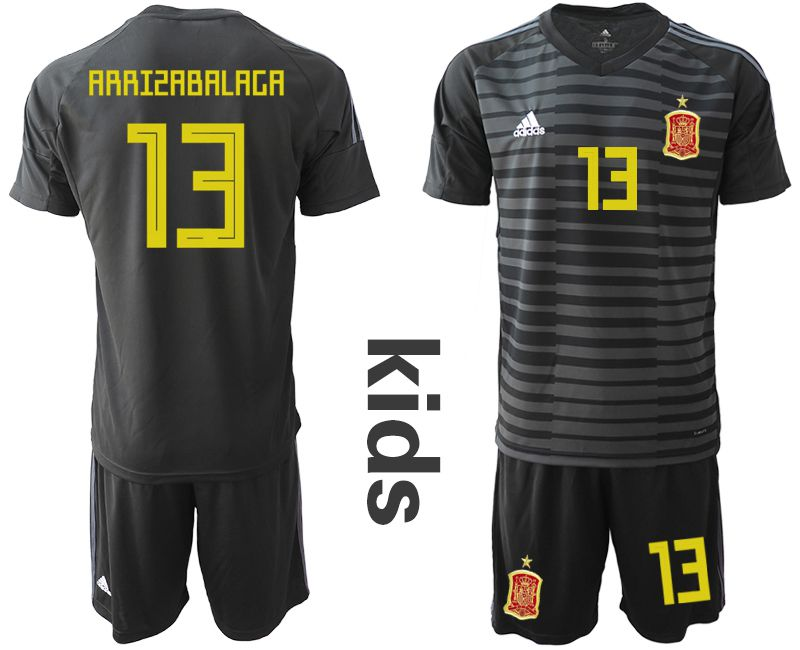Youth 2018 World Cup Spain black goalkeeper 13 Soccer Jerseys