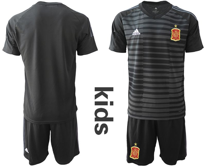 Youth 2018 World Cup Spain black goalkeeper Soccer Jerseys
