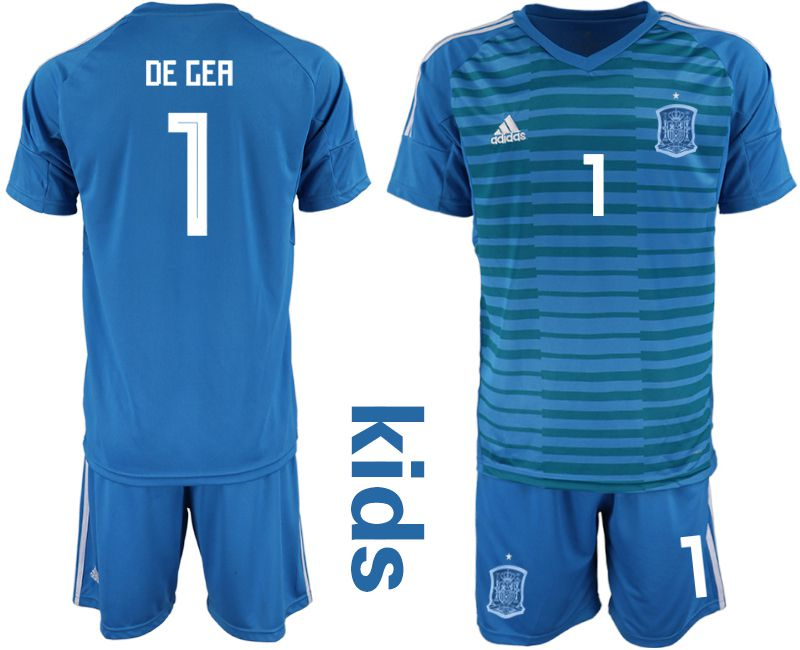 Youth 2018 World Cup Spain blue goalkeeper 1 Soccer Jerseys