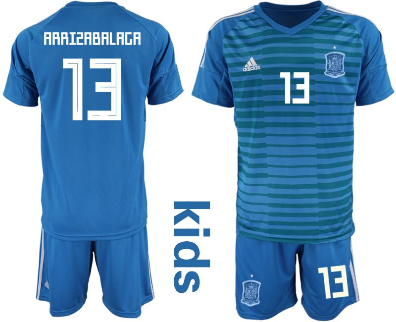 Youth 2018 World Cup Spain blue goalkeeper 13 Soccer Jerseys