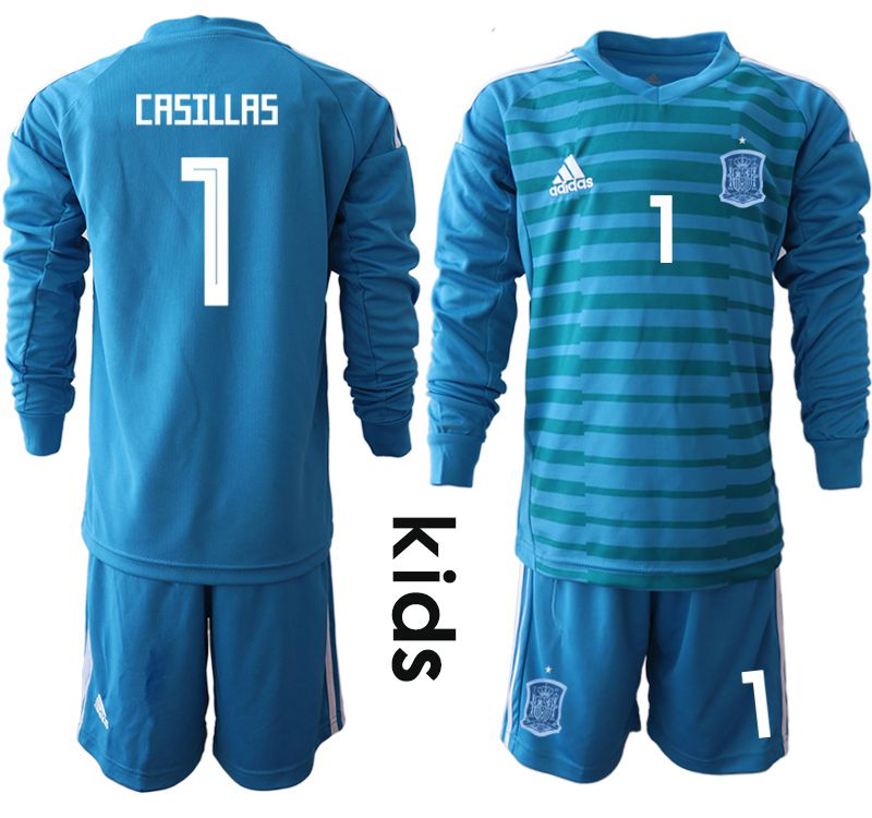 Youth 2018 World Cup Spain blue goalkeeper Long sleeve 1 Soccer Jerseys1