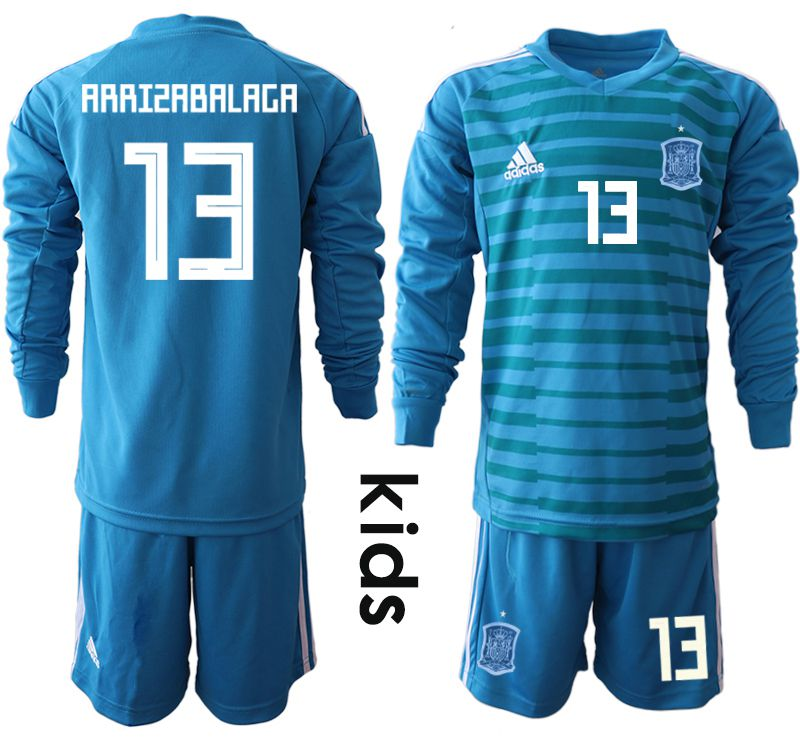 Youth 2018 World Cup Spain blue goalkeeper Long sleeve 13 Soccer Jerseys