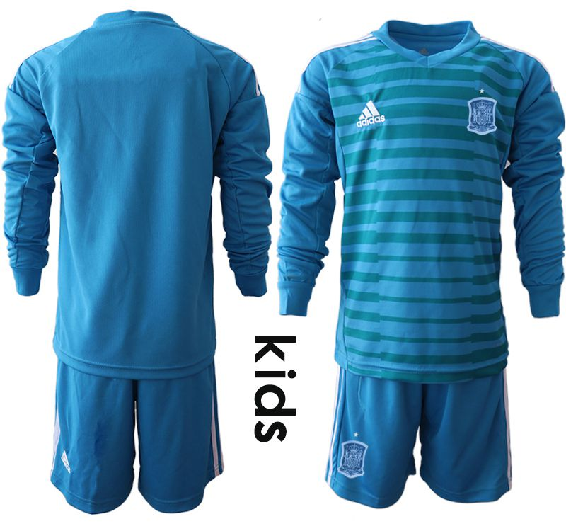 Youth 2018 World Cup Spain blue goalkeeper Long sleeve Soccer Jerseys