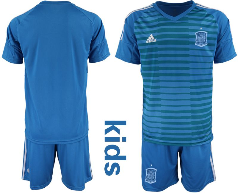 Youth 2018 World Cup Spain blue goalkeeper Soccer Jerseys