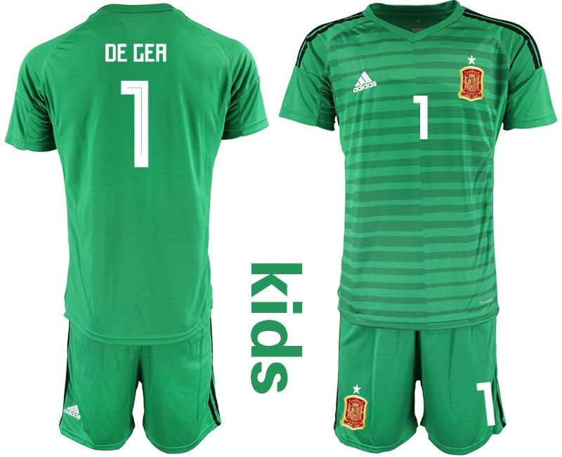 Youth 2018 World Cup Spain green goalkeeper 1 Soccer Jerseys