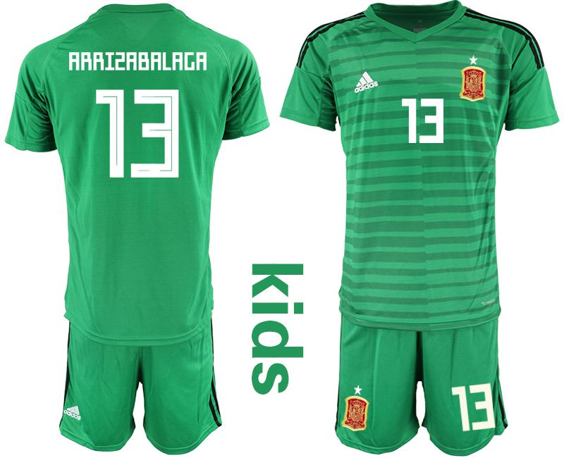 Youth 2018 World Cup Spain green goalkeeper 13 Soccer Jerseys