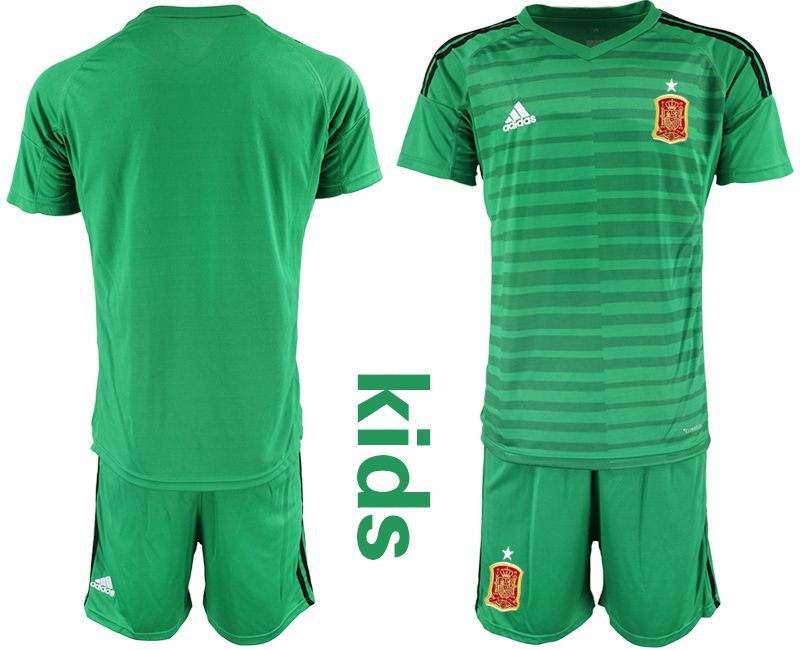 Youth 2018 World Cup Spain green goalkeeper Soccer Jerseys
