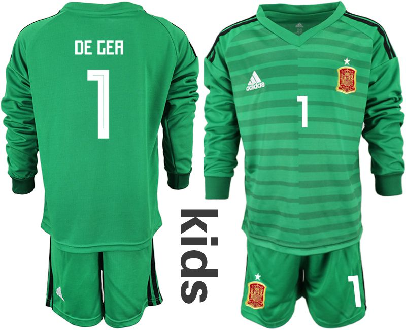 Youth 2018 World Cup Spain green long sleeve goalkeeper 1 Soccer Jerseys