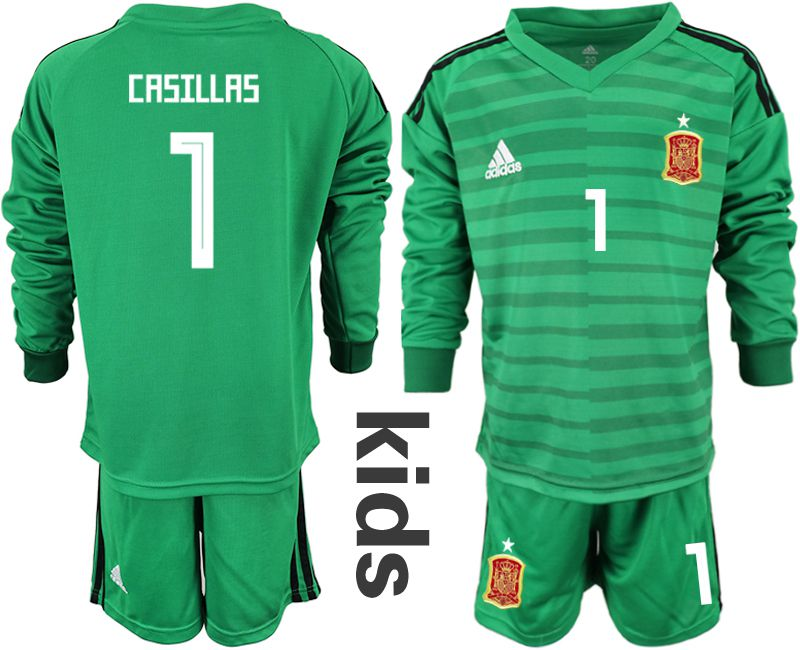 Youth 2018 World Cup Spain green long sleeve goalkeeper 1 Soccer Jerseys1