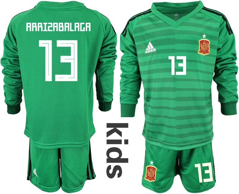Youth 2018 World Cup Spain green long sleeve goalkeeper 13 Soccer Jerseys
