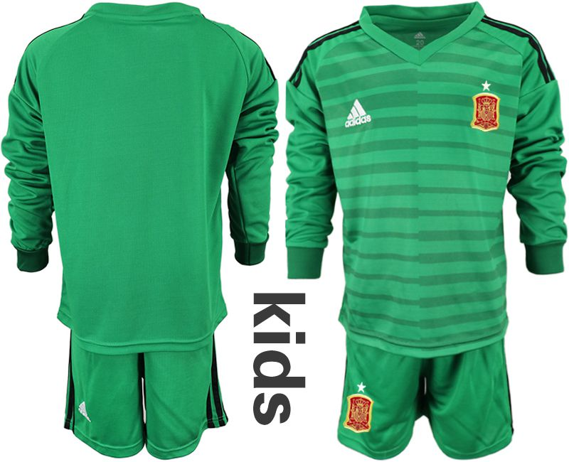 Youth 2018 World Cup Spain green long sleeve goalkeeper Soccer Jerseys